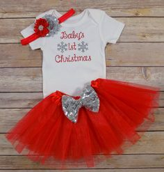 Baby Girl Christmas Outfit Baby Girl First Christmas Outfit Infant ...