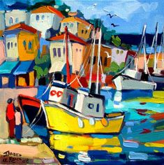 Artwork of Isabel le Roux exhibited at Robertson Art Gallery. Original art of more than 60 top South African Artists - Since Seaside Art, Coastal Art, Acrilic Paintings, Boat Art, South African Artists, Boat Painting, Naive Art, Colorful Paintings, Whimsical Art