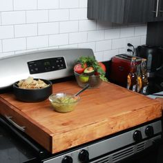 Add More Counter Space With This DIY Stove Top Cover #DIY #woodwork #orgainze