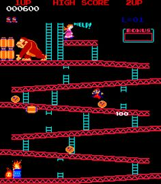 Classic arcade game from Nintendo. Introduced both Donkey Kong and Mario as characters. It was the first game of the Mario franchise. 80s Video Games, Vintage Video Games, Classic Video Games, Mundo Dos Games, King Kong, Video Game Reviews, School Videos, School Games, Old Games