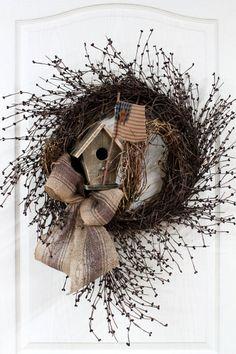 Large Primitive Pip Berry Door Wreath, Americana, Burlap Bow, Burgundy Pip Berries, Rustic Birdhouse/Primitive Flag