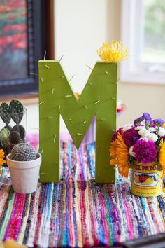 Create cactus letters for your next Cinco De Mayo or fiesta party . - Create cactus letters for your next Cinco De Mayo or fiesta party. You are simple … # cinco - Mexican Birthday Parties, Mexican Fiesta Party, Fiesta Theme Party, Fiesta Party Decorations, Taco Party, Party Snacks, Diy Mexican Decorations, Birthday Decorations, Mexican Brunch