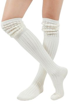1d4c851cc WowFoot Ladies Knit Over The Knee High Socks Slouch Stockings (Ivory)