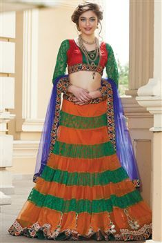 Orange Net Designer Beautiful Lehenga Choli
