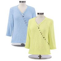 Button-Accent Cotton Sweater