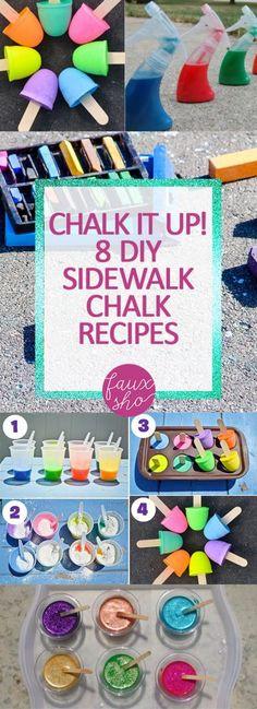Chalk It Up! 8 DIY Sidewalk Chalk Recipes| DIY Sidewalk Chalk, Homemade Sidewalk Chalk, DIY, Crafts for Kids, Fun Crafts for Kids, Summer Activities for Kids, Summer Fun for Kids, Outdoor Fun for Kids