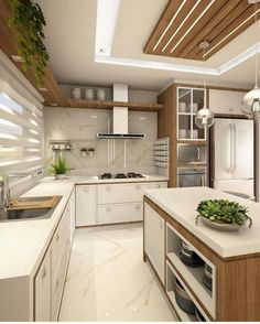 Cozinha lindíssima by Ana Marangoni (… Hello domingo! ✌☘ Cozinha lindíssima by Ana Marangoni ( Source [New] The 10 Best Home Decor (with Pictures) - Hello domingo! Cozinha lindíssima by Ana Marangoni ( What I call the kitchen is completely and c Kitchen Ceiling Design, Kitchen Room Design, Luxury Kitchen Design, Contemporary Kitchen Design, Home Room Design, Kitchen Cabinet Design, Home Decor Kitchen, Interior Design Kitchen, Home Kitchens