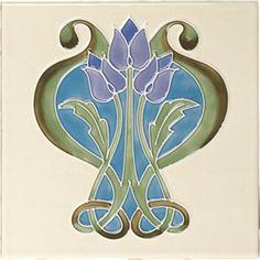 Art Nouveau Ceramic decorative wall tile 6 X 6 Inches Motifs Art Nouveau, Azulejos Art Nouveau, Art Nouveau Pattern, Patterned Wall Tiles, Decorative Wall Tiles, Art Nouveau Tiles, Art Nouveau Design, Vintage Tile, Vintage Art