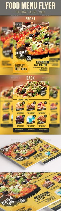 #Food Menu #Flyer - #Restaurant #Flyers Download here: https://graphicriver.net/item/food-menu-flyer/9711063?ref=alena994