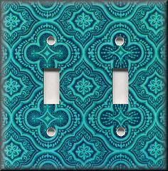 Light Switch Plate Cover - Morracan Tile Pattern - Teal - Boho Home Decor
