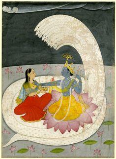 Vishnu & Lakshmi sitting on Sesha. or per reg' Krishna & Radha. Basholi ca. 1740.. Painted on paper. India