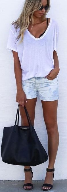 #summer #cool #outfits |  White Tee + Washed Denim Shorts