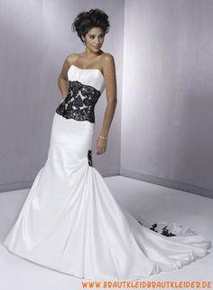 Designes und elegantes Brautkleid aus Satin im Meerjungfraunstil mit Applikation kaufen online 2012