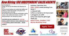 Now Hiring 100 INDEPENDENT SALES AGENTS We are the leading Medical Alert Company in the United States. You will be working from home on the phone with our network of senior citizens selling them the medial alert device. You will receive $500 - $1000 a week working part-time!!! http://www.medicalalertjobs.com/