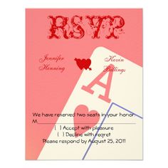 Casino wedding rsvp card pinterest casino wedding wedding rsvp casino las vegas wedding rsvp card personalized invitation stopboris Images