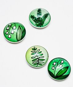 Ferns and Lilies Magnet Set