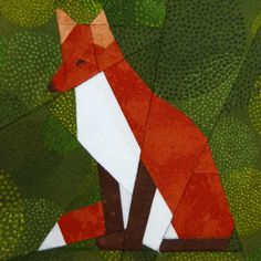 Red Fox paper-piecing quilt pattern, PDF. $3.00, via Etsy.