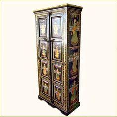 Beautiful Ethnic Wood Storage Hand Painted Armoire Closet Furniture