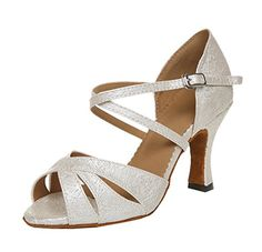 TDA Womens Fashion Beige Satin Ankle Strap Glitter Salsa Tango Ballroom Latin Modern Dance Wedding Shoes 10 M US >>> See this great product.(This is an Amazon affiliate link and I receive a commission for the sales)