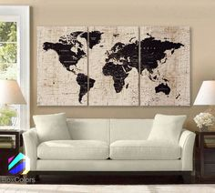 "LARGE 30""x60"" 3 Panels Art Canvas Texture Print Map World Cities Push Pin Travel Wall Brown beige decor Home interior (framed 1.5"" depth)"