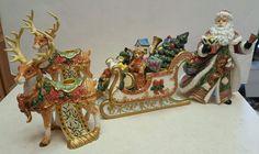 Large Ceramic Set  Christmas Santa , Sleigh Reindeer Candle Holders Original Box, $17.99