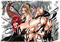 Mary Jane,Gwen Stacy ,Black Cat and Venom by josileudo