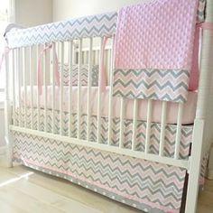 Pink Gray Chevron Baby Bedding Grey Crib