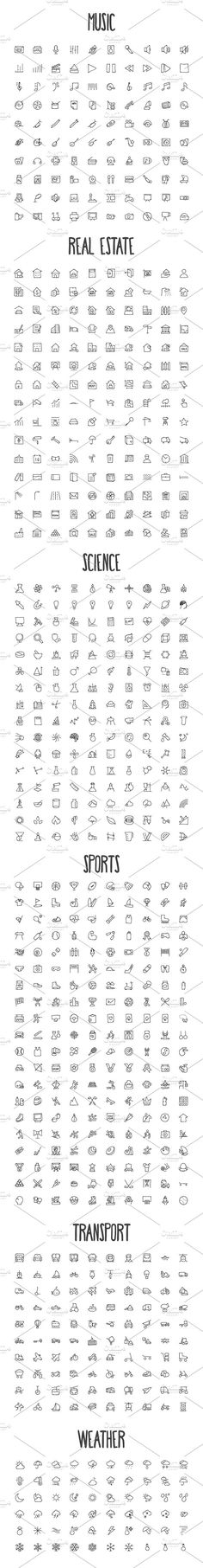2440 Hand Drawn Doodle Icons Bundle - Icons