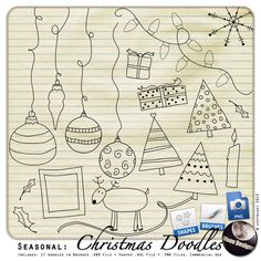Seasonal: Christmas Doodles by MoonDesigns , cudigitals.com, digital, scrap, scrapbook, graphics, commercial,