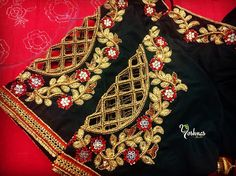 Popular shoulder cut work design on black color blouse from Yoshnas By Ela . Please reach on 7550227897 / 044 42037313 for any customization.Yoshnas Co-operative colony Chamiers Road Chennai. Landmark : Next to Hotel Crown Plaza (Park sheraton)Yoshnas Blouse Back Neck Designs, Cutwork Blouse Designs, Fancy Blouse Designs, Bridal Blouse Designs, Saree Blouse Designs, Cut Work Blouse, Maggam Work Designs, Stylish Blouse Design, Shoulder Cut
