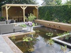Afbeeldingsresultaat voor moderne tuinhuis met waterpartij