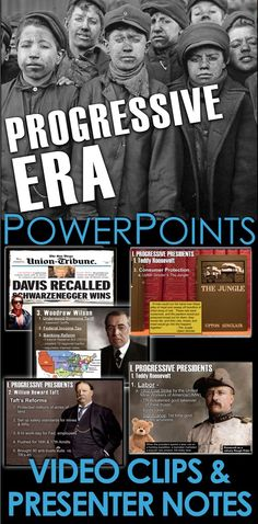 Progressive Era PowerPoint with Video Clips & Presenter notes History Lesson Plans, Social Studies Lesson Plans, Teaching Social Studies, Teaching American History, American History Lessons, Teaching History, World History, History Class, Tools For Teaching