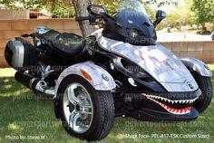 Can-Am Spyder wrap, decals, graphics, P40 Shark face, warhawk ...
