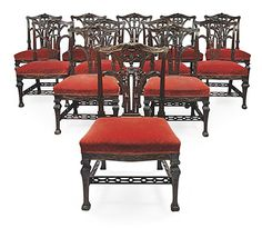 Love this set of twelve Chippendale dining chairs!