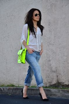 Love this neutral outfit with a neon satchel. Might have to get my Target version back out.