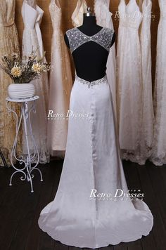 Silver Gray Backless Long Prom Dresses Evening by RetroDresses, $228.99