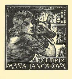 """Exlibris bookplate  """"girl with a dog"""" by Josef HODEK 1888-1973 - CZ    eBay"""