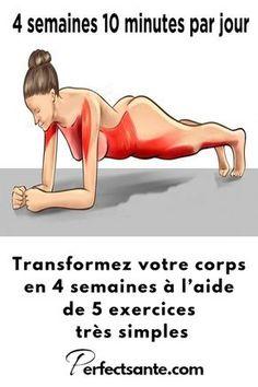 Transformez votre corps en 4 semaines à l'aide de 5 exercices très simples Lady Fitness, Fitness Tips, Health Fitness, Fitness Planner, Fitness Logo, Muscle Fitness, Fitness Games, Fitness Sport, Fitness Style
