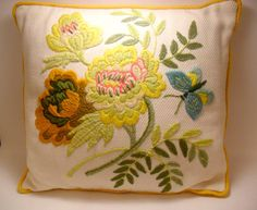 Vintage Crewel Floral Throw Pillow by TheRetroRemedy on Etsy, $23.00