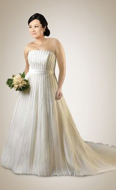 Trendy Beaded Pleated Tulle Plus Size Wedding Dress