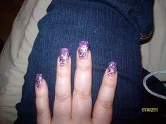 Purple glitter fade with flowers