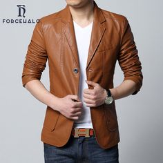 2016 Brand New Spring Casual Blazer Men Slim Fit Mens Blazer Jacket Leather Suit Men Top Quality