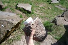 Plaster Mold – This cache in Edinburgh is a simple water bottle, but with a plaster mold around it to make it look like a rock. It looks just like a rock, but when you pick it up it is very light. The water bottle provides a waterproof container for putting cache goodies and the log in! Very clever!