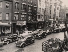 Double parked even then! Hanover Street from Richmond Street to Prince Street, November 11, 1948. (Courtesy City of Boston)
