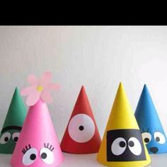 yo gabba gabba party hats. these were the inspiration for sofia's 2nd birthday party hats. not exactly the same.. but close.