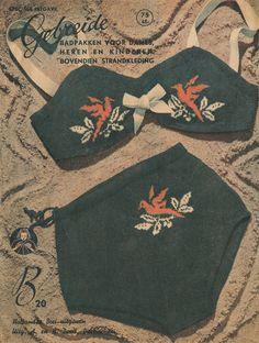 1940s Knitting Pattern for Womens 2 Piece Swimsuit / Bikini / Bathing Suit - 33.5 bust - Digital PDFS
