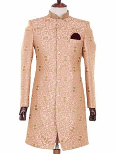 G3 Exclusive Peach Cotton Raw Silk Wedding Wear Indo Western