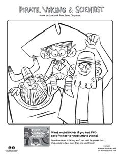 Pirate, Viking & Scientist coloring page
