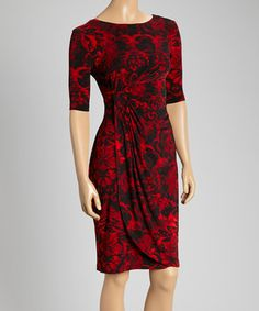 Look what I found on #zulily! Red & Black Floral Side-Sweep Dress - Women by Connected Apparel #zulilyfinds