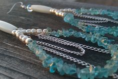 #Apatite and #Silver #Teardrop #Earrings #handmade #thecraftstar $24.00
